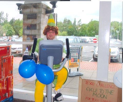 FUN FUNDRAISING: Tesco's Penarth staff cycled part way to the moon!