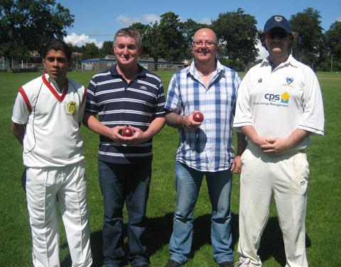 SUNDAY ACTION: Jayashree captain Yogesh Patil, ball sponsors Mark Hughes and Wayne Spear, and Dinas skip Gordon Hannah.