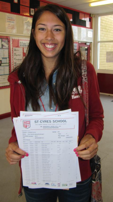 STAR PUPIL: Ellen Mahenthiralingam earned 10 A*s and one A. BCS611V12-STCYRES.