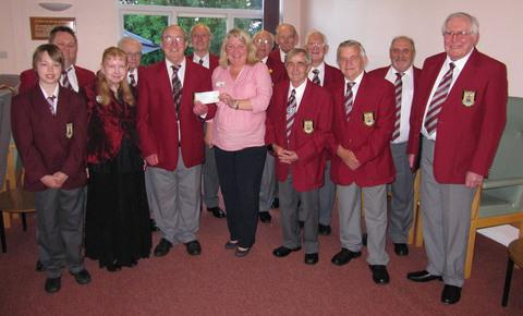 DONATION: Penarth Male Voice Choir presented a cheque for £200 to Marie Curie Cancer Care.