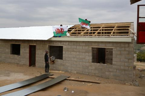 SPEEDY: The almost-completed roof on the classroom block of TY Junior Academy in Lesotho.