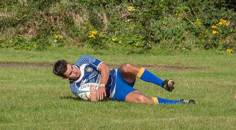 TRY: A relaxed Nick Coles scores the Villagers' sixth try. Picture: Mark Harris.