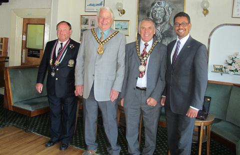 Branch Chairman Tich Taylor, with Vale Mayor Cllr Eric Hacker, Penarth Mayor Cllr Philip Rapier, and Vaughan Gething AM.