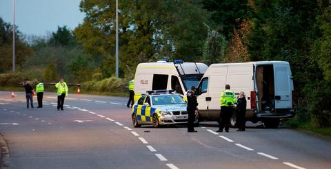 ARREST: Police halted a white van in Penarth, by the Merrie Harrier (Picture: Jo Nixon).