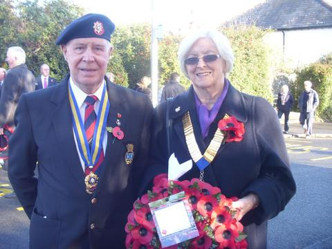 REMEMBRANCE: Mr Alan Johanson of Dinas Powys Legion and Cllr Val Hartrey, Chair of Dinas Powys Community Council, at the laying of the Wreaths on Remembrance Day.