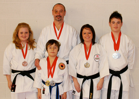 KARATE MEDALS: Medal winners at Western Karate Union's Winter Invitational - Kloe Christoforato, Rory O'Donovan, Finnian O'Donovan, Heidi Christoforato and Bradley Christoforato.
