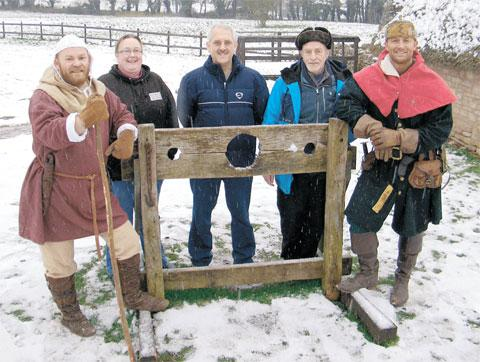 ON BOARD: The new volunteers are welcomed by Henry Hogg the Swine Herd and Walter the village Reeve