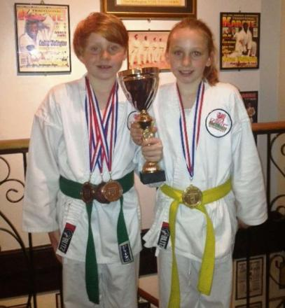 KARATE SUCCESS: UK trophy winners Annabell and Harvey Stacey, of Fairfield Karate Club, Penarth.