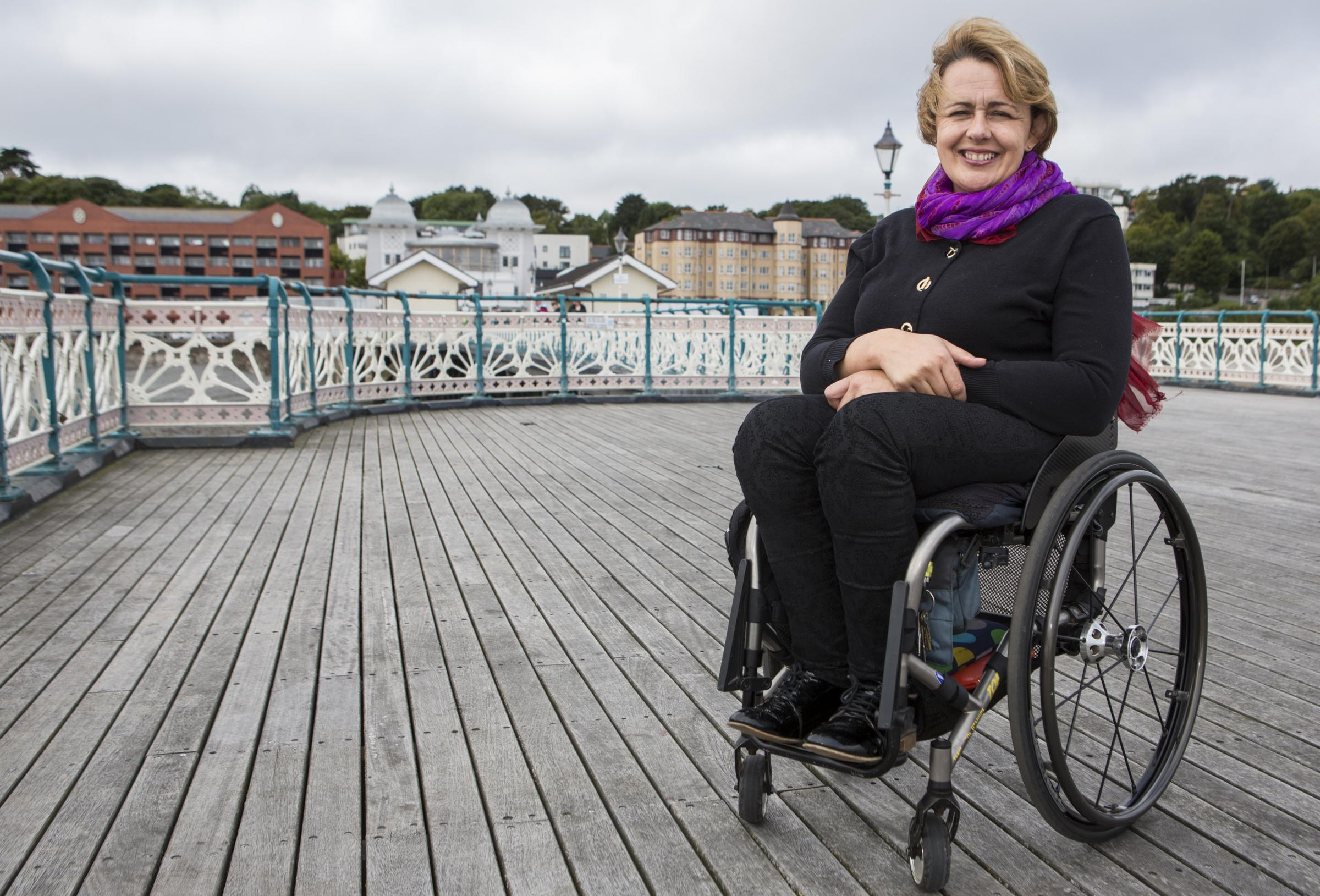 COMING HOME: Tanni Grey-Thompson on Penarth Pier during filming for 'Coming Home'