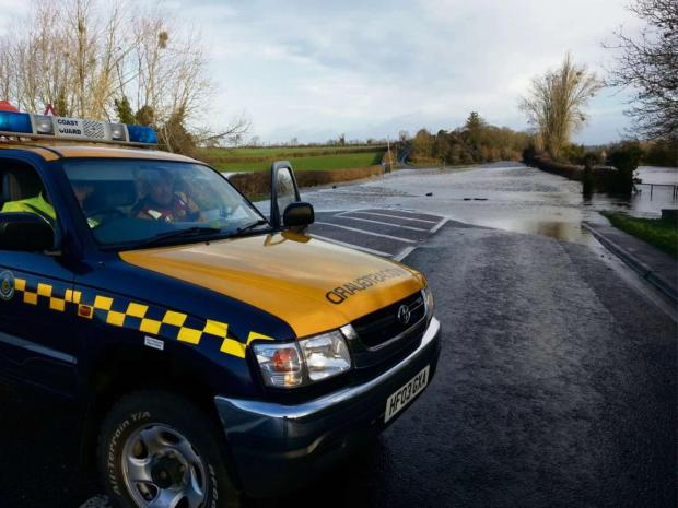 Penarth Times: FLOODING: Penarth Coastguard were despatched to Chepstow to assist with flood rescue work after the River Severn overflowed