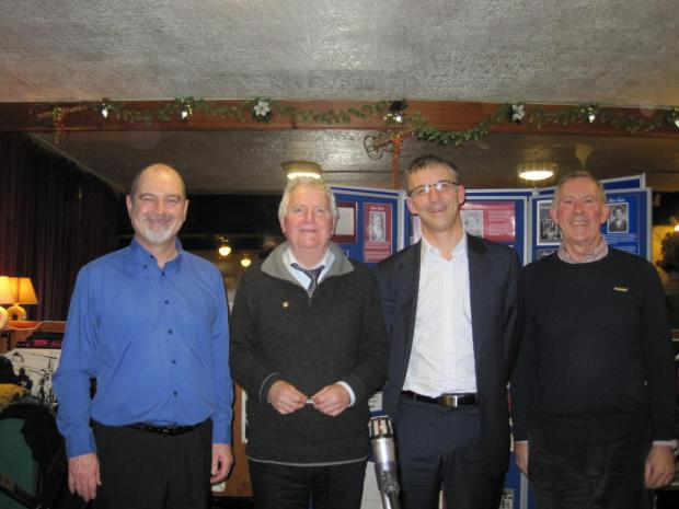 Penarth Times: PLAID CYMRU: (from left) Chairman of Penarth Branch Adrian Roper, Alun Ffred Jones AM, Professor Richard Wyn Jones and Plaid History Society Chairman Dafydd Williams.