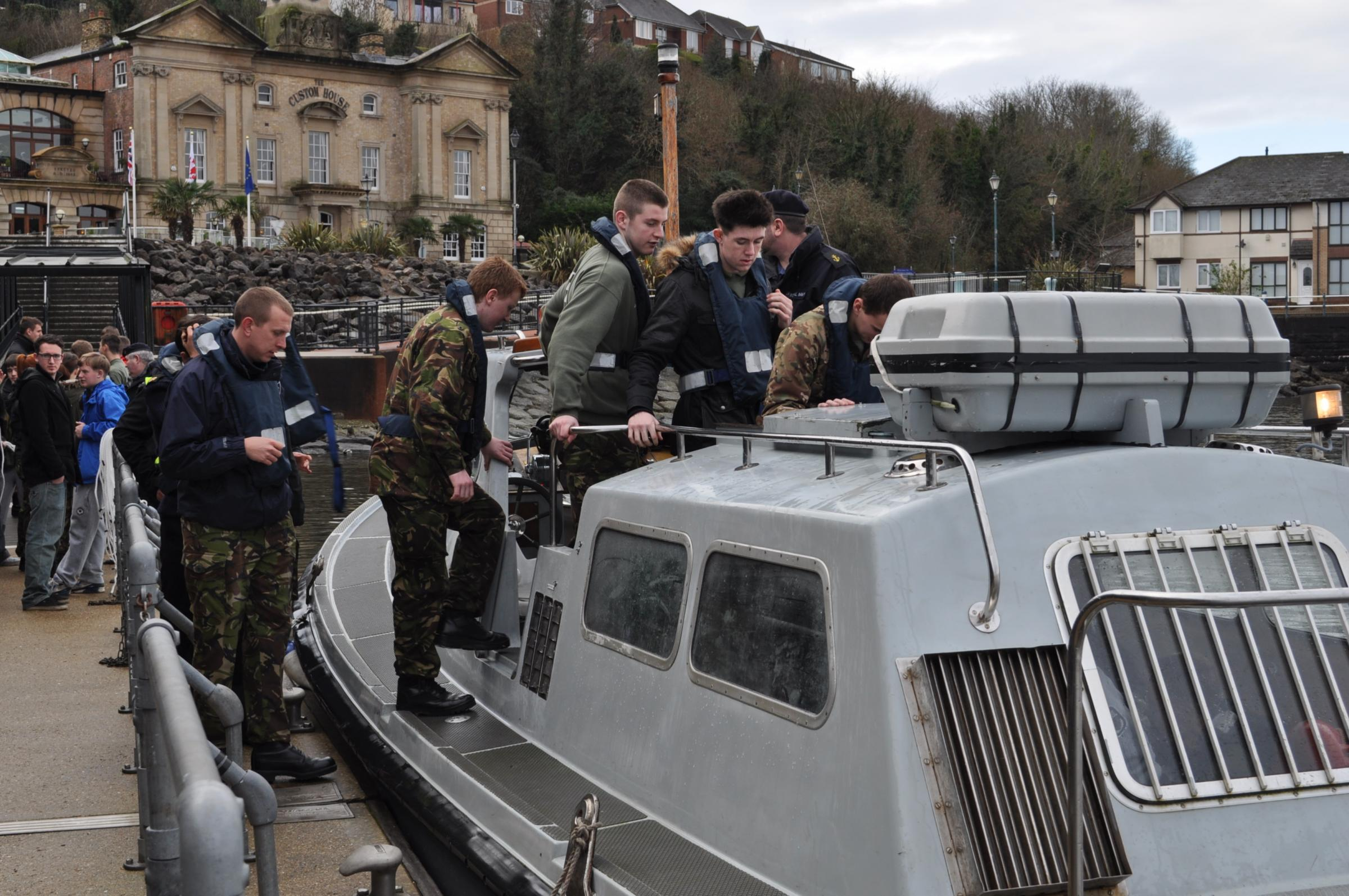 ALL ABOARD: Students from Military Preparation College Cardiff boarding a Royal Navy Reserve (RNR) launch at Penarth Marina