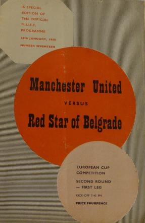 RARE: A programme from the Manchester United fixture against Red Star Belgrade in 1958