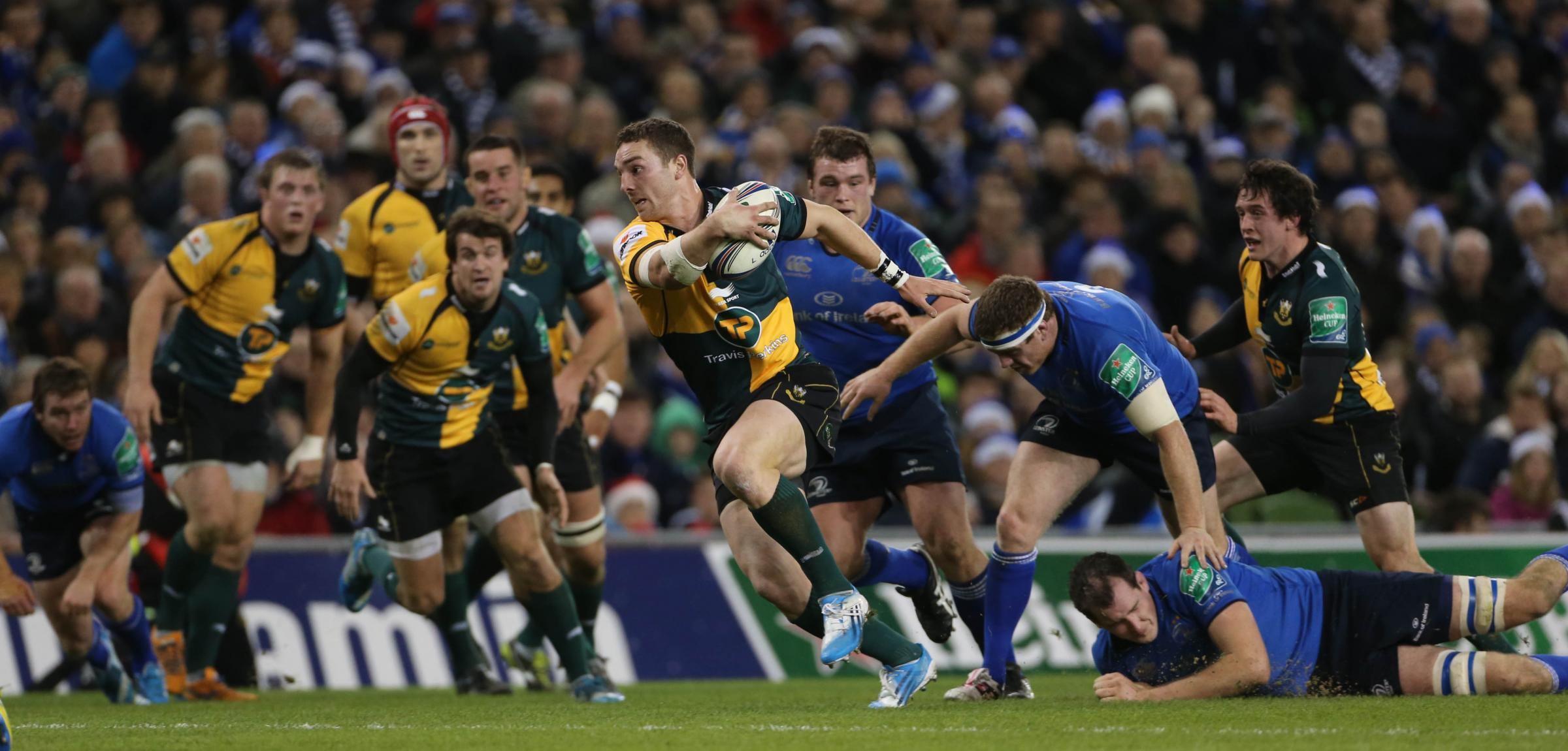Northampton Saints George North scores a try during the Heineken Cup, Pool One match at The Aviva Stadium, Dublin, Ireland. PRESS ASSOCIATION Photo. Picture date: Saturday December 14, 2013. See PA story RUGBYU Leinster. Photo credit should read: Niall Ca