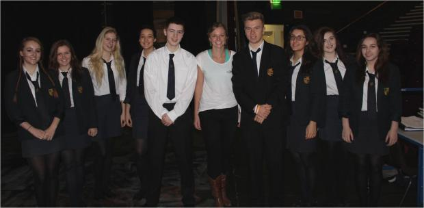 INSPIRATIONAL: Emily Penn with Stanwell pupils after her talk (3795007)