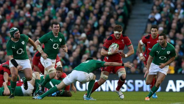NO WAY THROUGH: Wales star Andrew Coombs suffers against Ireland for the second time in 12 months