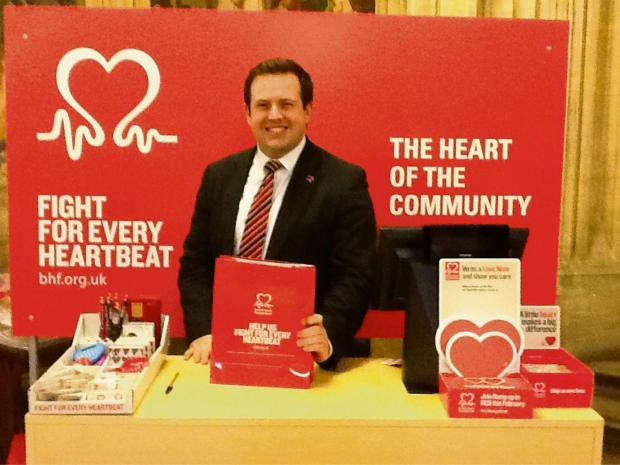 HAVE A HEART: Stephen Doughty MP at the British Heart Foundation's pop-up shop in Parliament