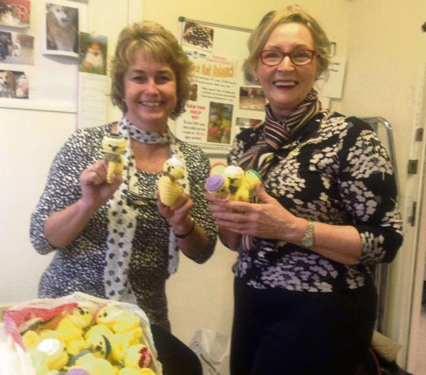 APPEAL: Julie from Velindre Hospital receiving the Easter chicks from president Audrey. (3905124)