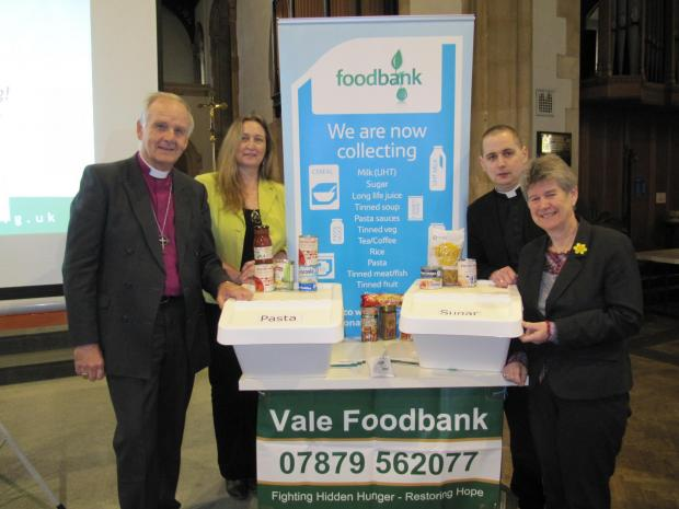 FOODBANK: Susan Lloyd-Selby (second left) at the recent opening of a new Vale Foodbank in Barry (5436966)
