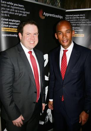 APPRENTICESHIPS: Cardiff South and Penarth MP Stephen Doughty (left) with Labour's Shadow Business Secretary Chuka Umunna, ahead of National Apprenticeship Week, March 3-7