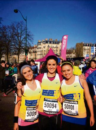 CHARITY RUN: Lucy Flynm, Holly Flynn and Lauren Hughes completed the Paris Half Marathon on Sunday,, March 2