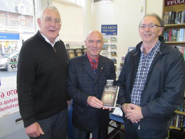 Penarth Times: SPORTING GREATS: (from left) Former British and Irish Lion Geoff Evans, author Peter Griffiths and two-time Olympian Gwynne Griffiths(4445661)