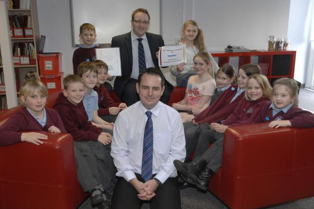 ANTI BULLYING: Evenlode Primary School head teacher Steve Rees with Cllr Chris Elmore and pupils