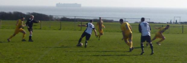 HOME WIN: Sully Sports on the offensive in Saturday's South Wales Senior Soccer League home win over Fochriw.
