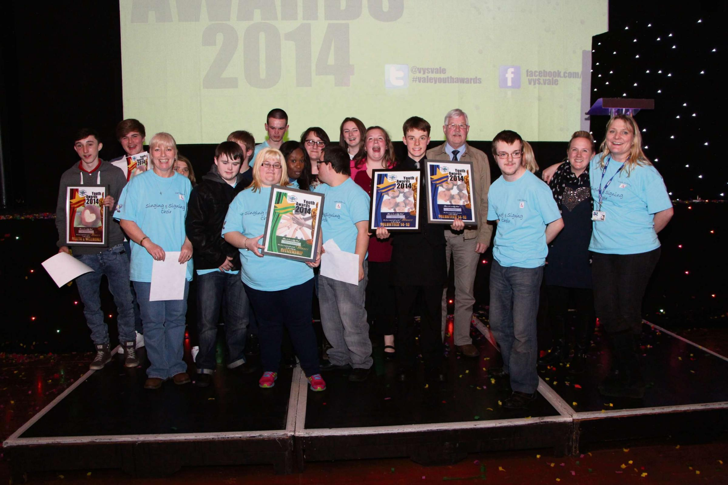 SUCCESS: Penarth Youth Project on stage after winning their awards (4690566)
