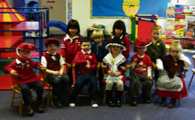 FUN: The children at Cylch Meithrin Bethal celebrated St David's Day this month by dressing up in traditional Welsh costume and enjoying fun activities. (4642580)