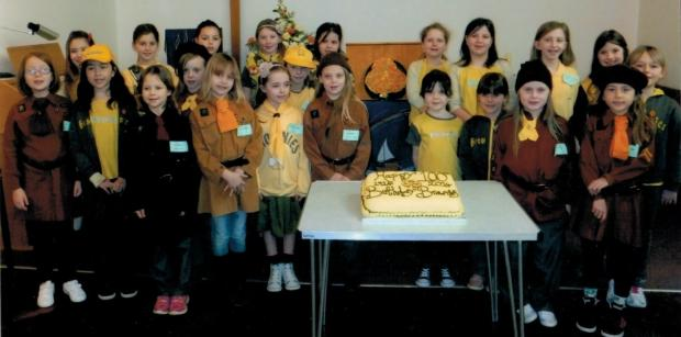 CELEBRATE: Penarth 7th/14th Brownies are celebrating their 100th birthday where they had a sleepover in Albert Road Church, got up and attended the service, and finished off by cutting their birthday cake.