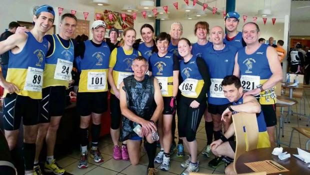 TEAM: Penarth and Dinas Runners before taking part in the Sam Domenice 30k race along the Taff Trail