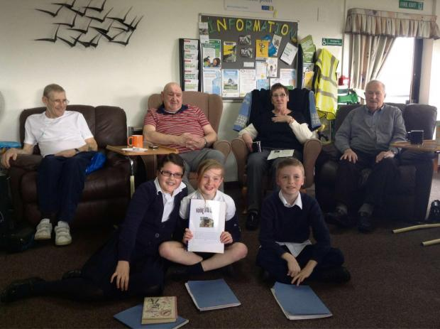 YOUNG AUTHORS: Pupils from Sully Primary School visited Penarth's Marie Curie Hospice to talk about their writing shed