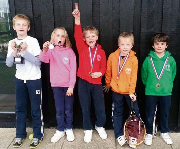 LEAGUE SUCCESS: Penarth Windsor Lawn Tennis Club's Vale Winter League (Mini Red winners) from left: Jack Killborn, Holly Ritchie, Harry Ritchie, Felix Bockelmann-Evans and Neirin Gilani.