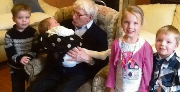 FAMILY CELEBRATION: Bill Hall celebrating his 100th birthday with (from left) with Sam, Emily, Chloe and Dylan