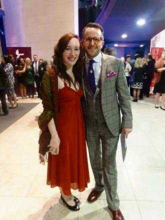 NOMINEE: Charity fundraiser Lara Cowpe with the founder of the Only Men Aloud choir group, Tim Rhys-Evans