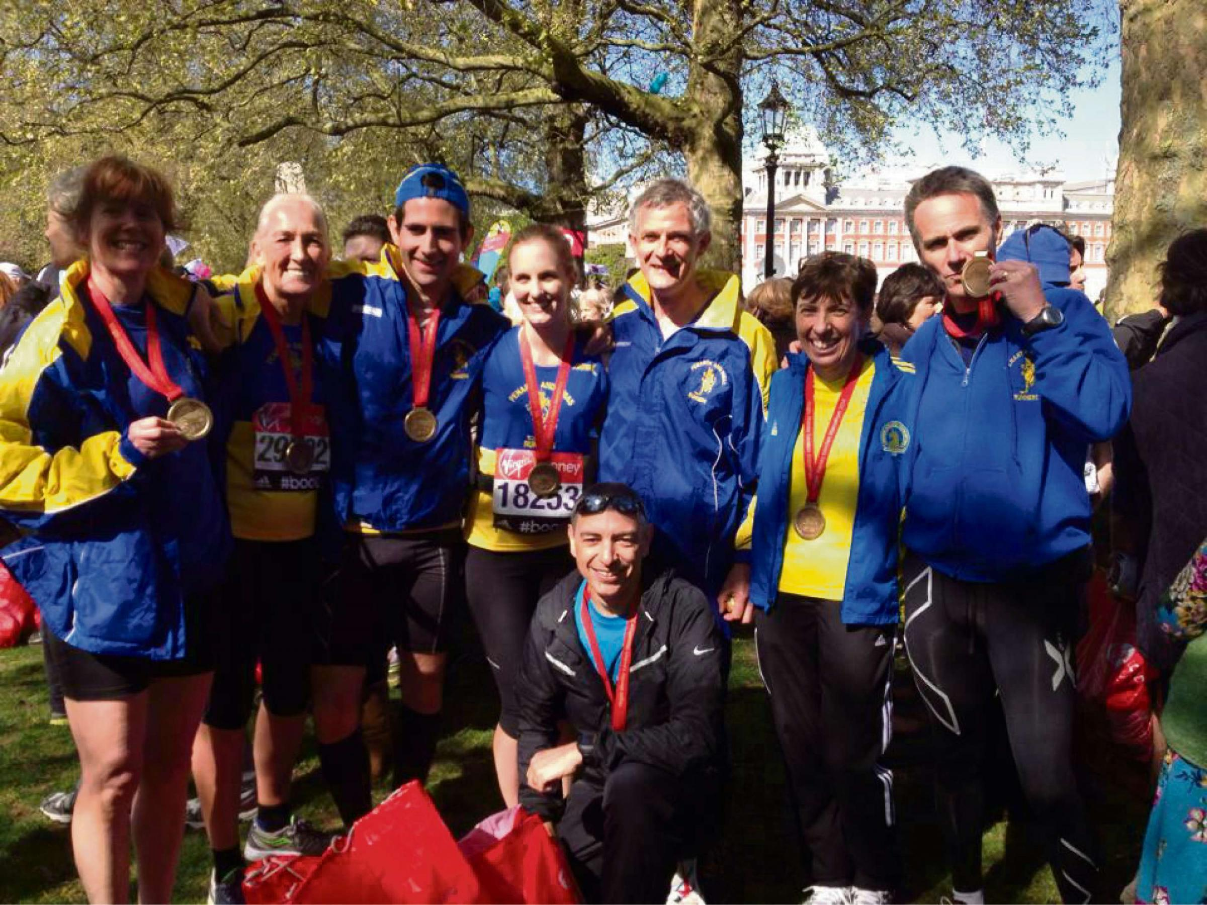 TEAM: Penarth and Dinas Runners after running the London Marathon on Sunday, April 13