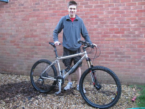 BIKE RIDE: Alex Huntley cycled from Brecon to Cardiff to raise money for his year working abroad (5425256)
