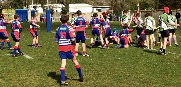 FINAL SPOT: Nick Haigue-Jones crosses for a try as Penarth Rugby  Club U12s beat Cowbridge to reach the final of the Red