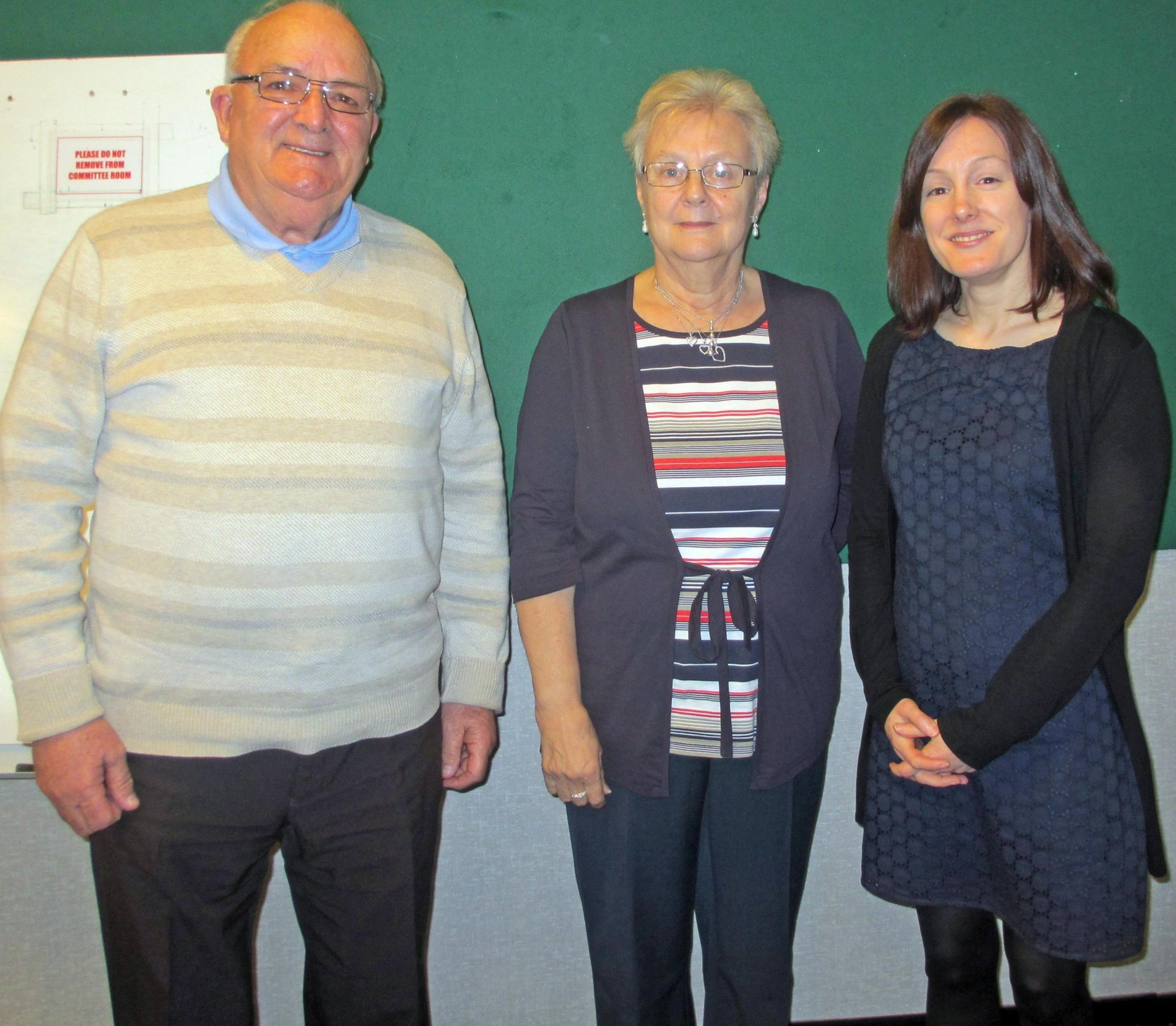 GUEST SPEAKER: (l-r) Mike Edwards vice chairman Vale 50+, Lynda Wallis chairwoman Vale 50+, Sam Fairclough Community Support Services Manager (Wales) Prostate Cancer UK. (5429719)