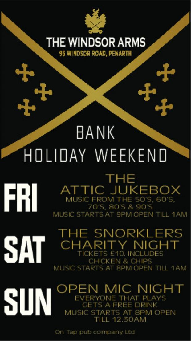 Penarth Times: POSTER: The Windsor Arms is set to celebrate the Bank Holiday Weekend in style