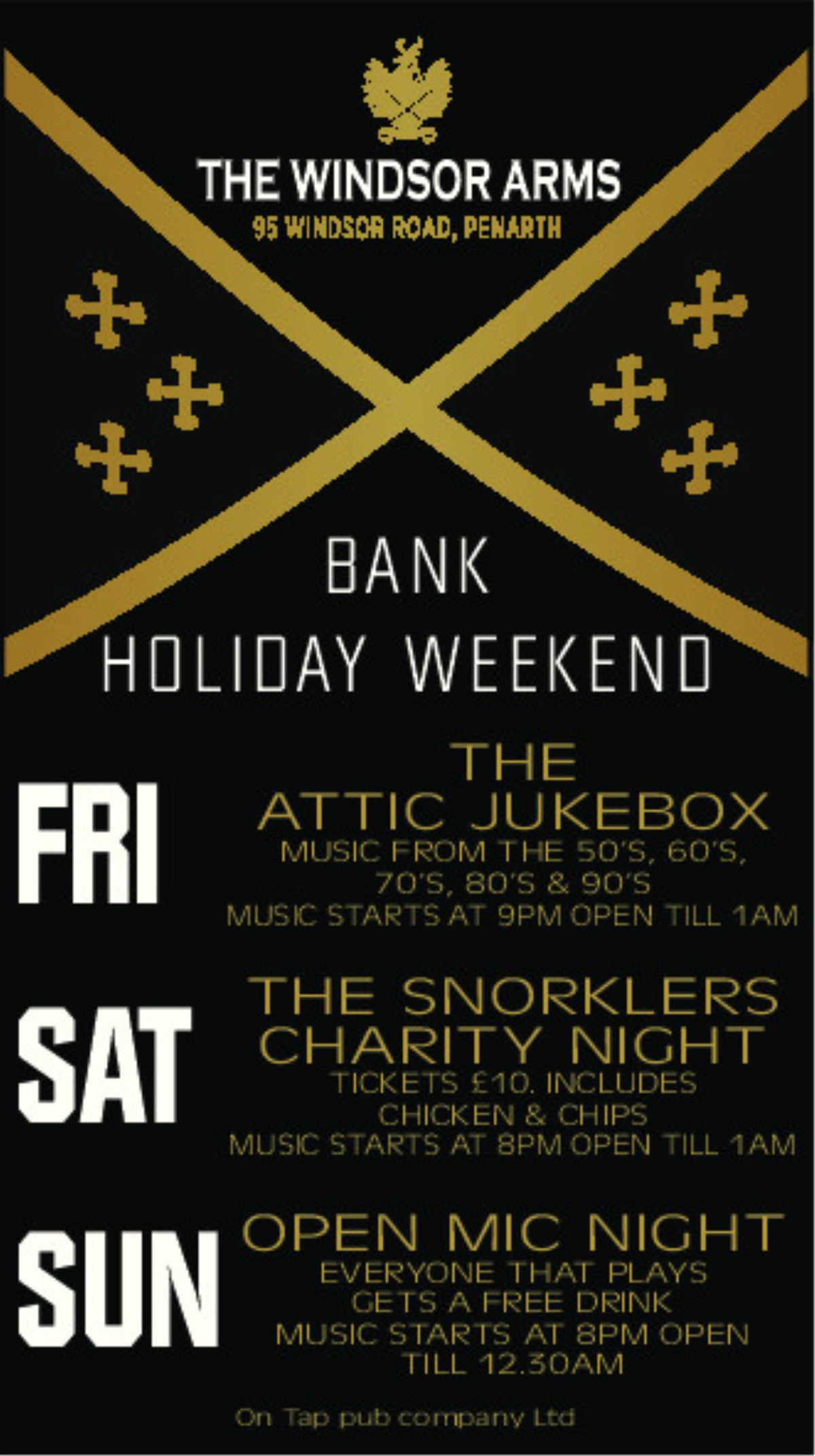 POSTER: The Windsor Arms is set to celebrate the Bank Holiday Weekend in style