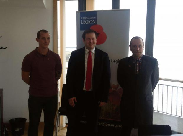 ROYAL BRITISH LEGION: Stephen Doughty MP with RBL beneficiaries Neil Adams (left) and Dave Ireland (right)