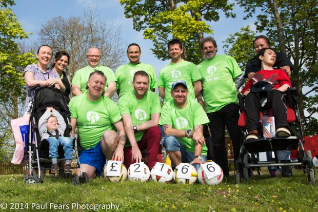 FINAL TOTAL: A charity football match between Ty Hafan Dads and Dan Evans FC raised a total of £2,166 for the children's hosp