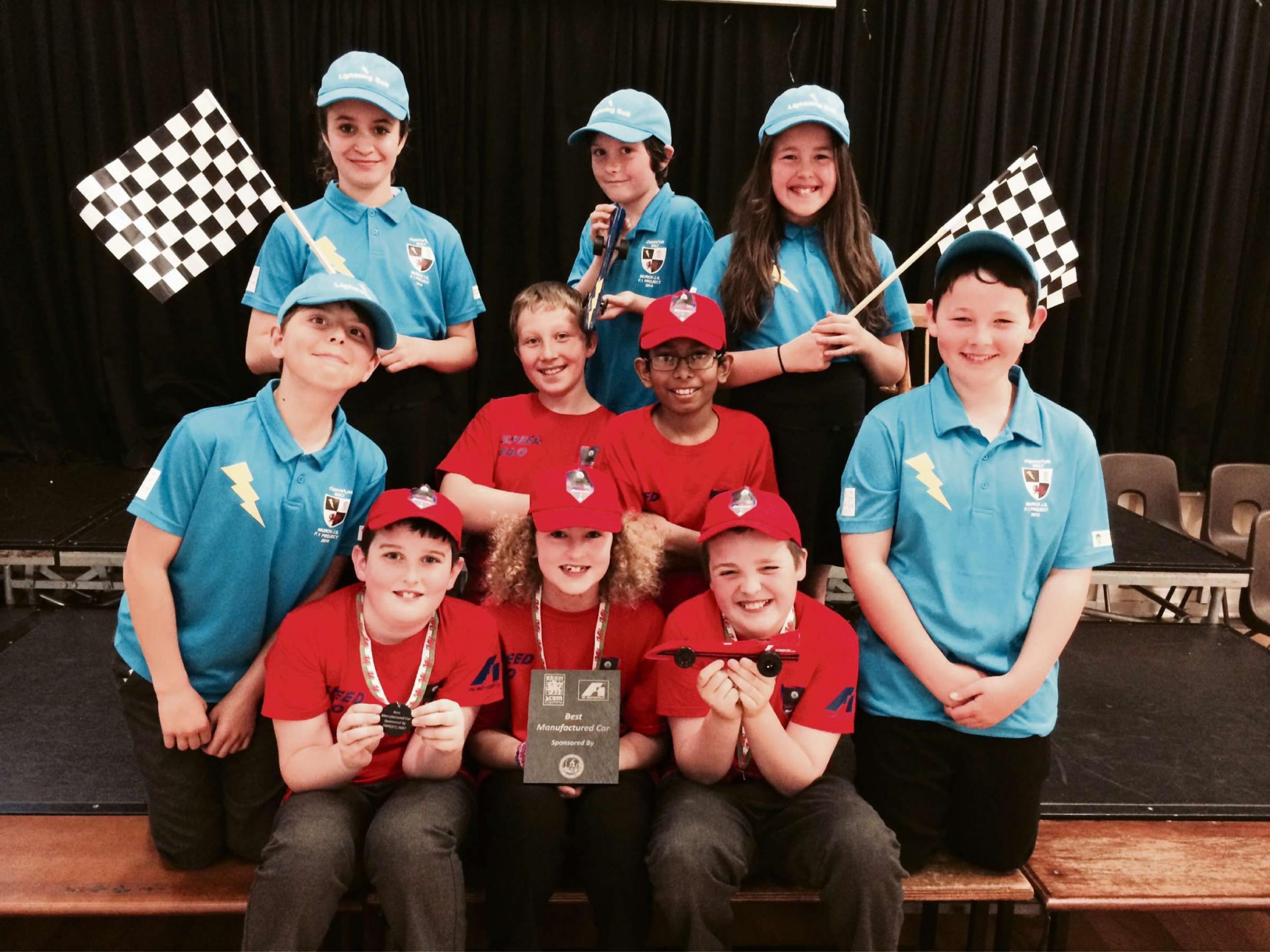 F1 CHAMPS: The 'Speed 360' and 'Lightening Bolt' teams from Murch Junior School after the competition