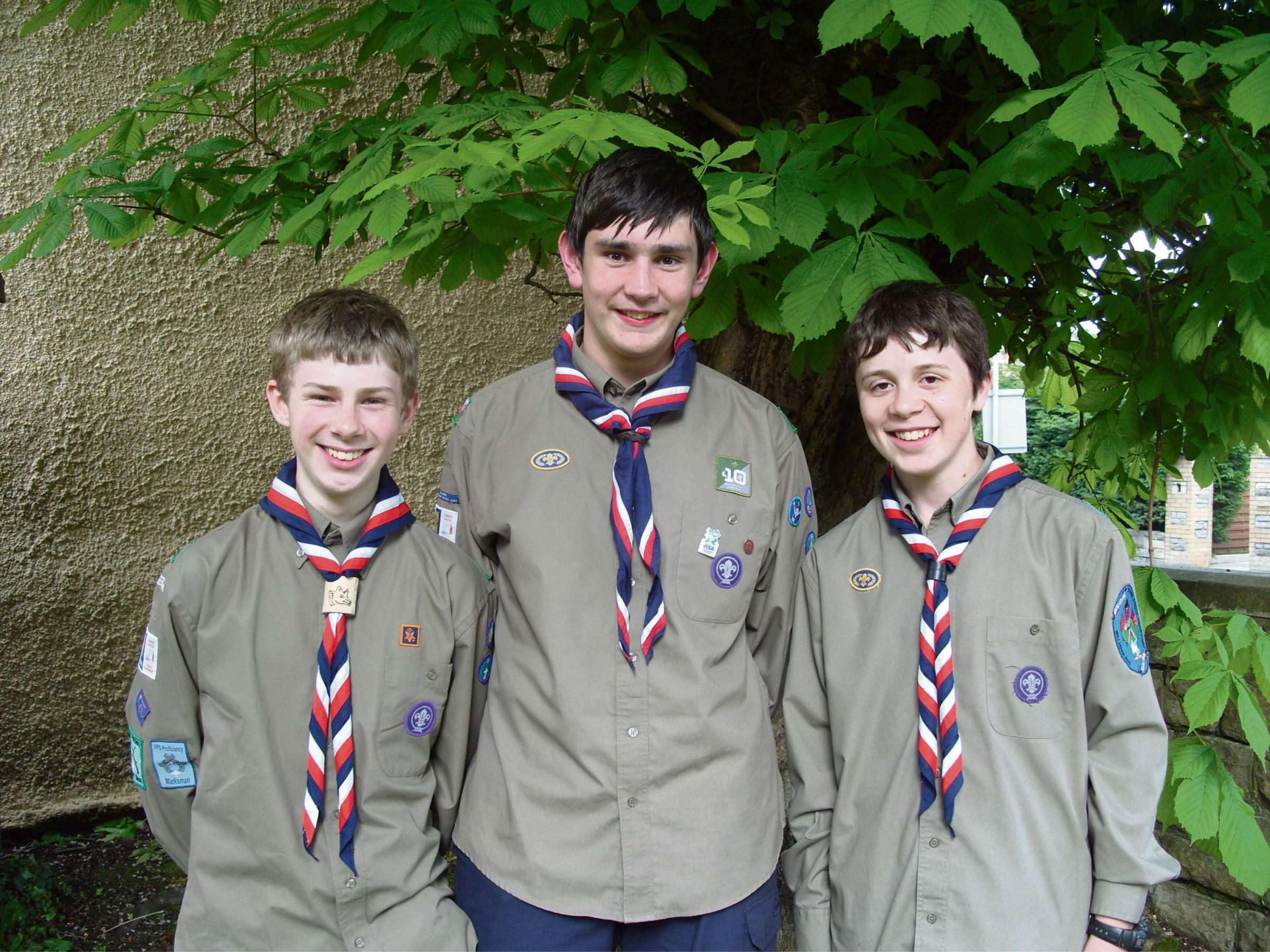 SCOUTS: (from left) Owain Havard,Thomas Mullett and Jonathan Wright are all set to attend the World Scout Jamboree in Japan in 2015