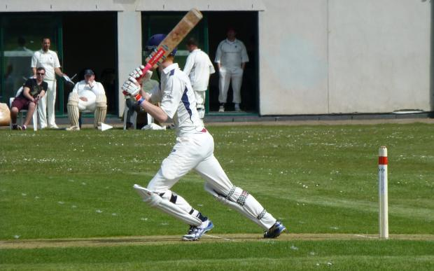 FULL FLOW: Dinas Powys batsman Rob Moseley in full flow against Sully Centurions.