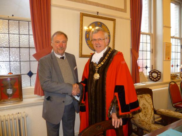MAYOR: Penarth Town Mayor Cllr Martin Turner (right) with the outgoing Town Mayor Cllr Neil Thomas