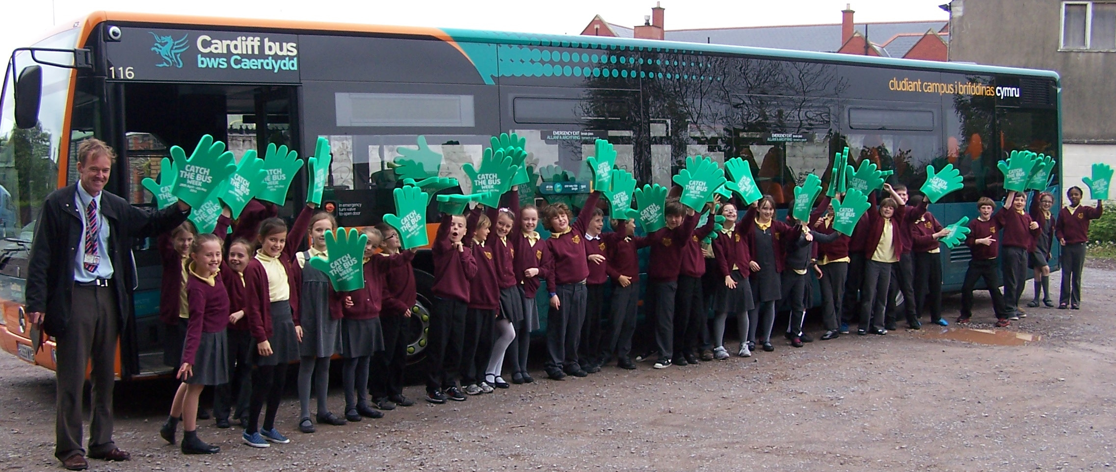 SCHOOL BUS: Pupils from Victoria Primary School with a Cardiff Bus