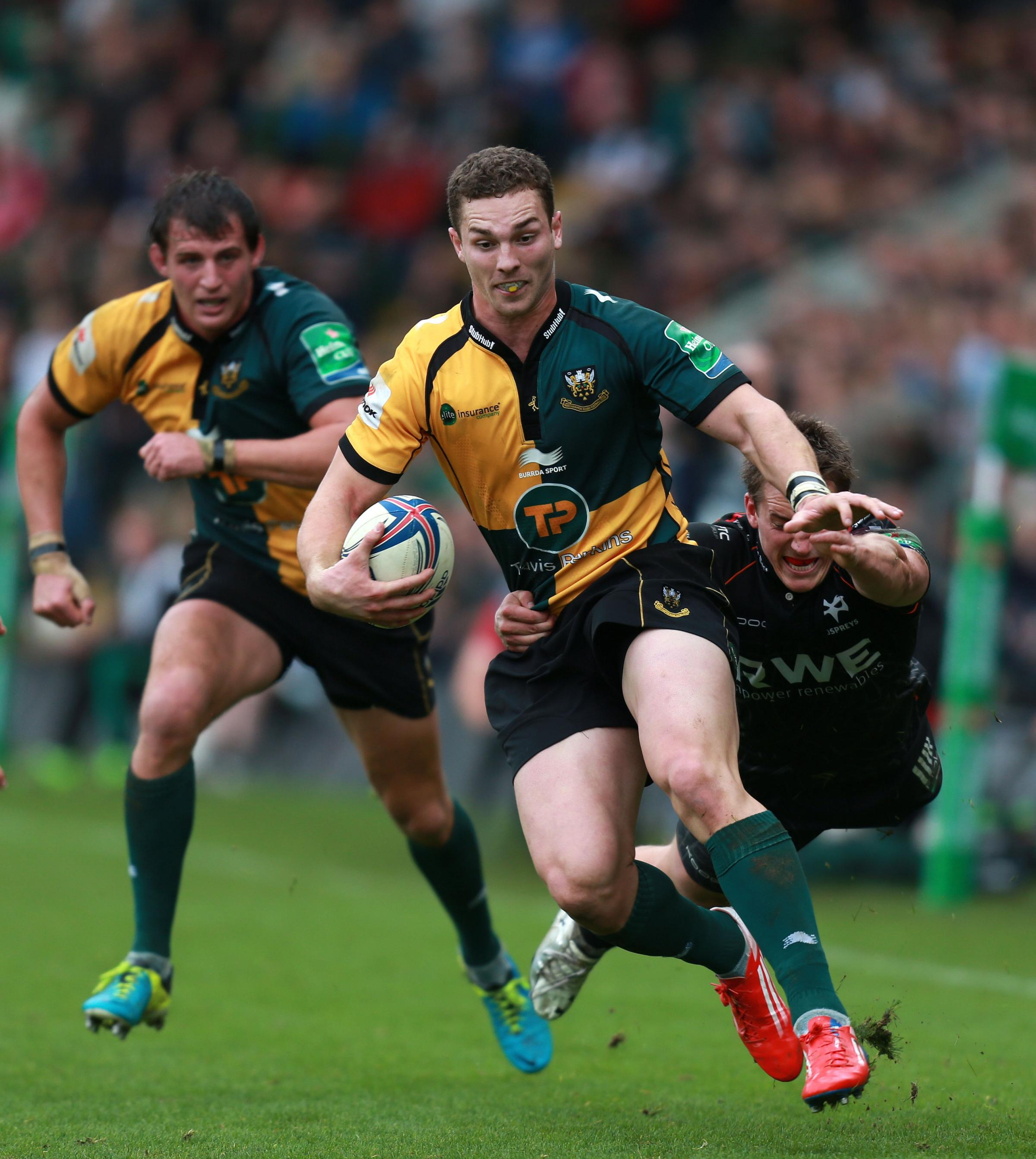 Northampton Saints George North is tackled by Ospreys Jeff Hassler during the Heineken Cup, Pool One match at Franklins Gardens, Northampton. PRESS ASSOCIATION Photo. Picture date: Sunday October 20, 2013. See PA story RUGBYU Northampton. Photo credit sho